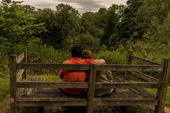 always together... (Ntino Poulak photography) Tags: uk woman man forest bench hug couple riverthames cloudysky etoncollege canon600d