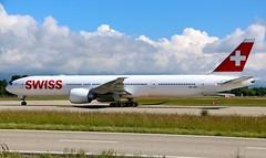Swiss Global Air Lines. HB-JND. Boeing 777-3DE(ER). (Themarcogoon49) Tags: switzerland airport swiss aircraft boeing planespotting b777 gva cointrin avgeek b77w