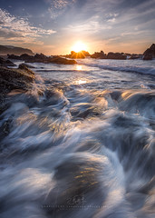 Golden waves (agapicture) Tags: ocean sky seascape water clouds sunrise gold waves stones taiwan    goldan