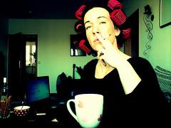 Ich beim Frhstck (janahro) Tags: jana frhstck lockenwickler