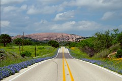 Enchanted Road to Enchanted Rock (Handheld HDR) (TimothyJ) Tags: road flowers blue mountain austin texas tx hillcountry hdr bluebonnets enchantedrock picturenaut
