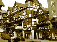 Half - Timbered Houses (Colorado Sands) Tags: street wood city uk houses england english sepia architecture town oak arquitectura shropshire unitedkingdom britain structures medieval tudor ludlow shops architektur british stores towns westmidlands rolex halftimbered timberframed winodws leidholdt