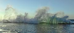 Aquamarine (rubberducky_me) Tags: ocean morning water backlight newcastle wave australia nsw spash bogeyhole