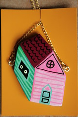 little house necklace (Papuzzini Smellow) Tags: baby house art love home ecology illustration design necklace funny handmade milano crafts decoration craft jewellery polymerclay fimo gifts fantasy gift pendant cernit jewellry decorazione reutilization smellow papuzzini