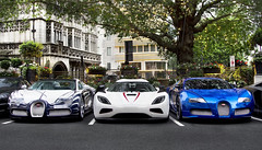 Hyper Squad. (Alex Penfold) Tags: auto camera blue white london cars alex sports car sport mobile canon photography eos 1 photo cool flickr image stripes awesome flash picture kingdom super spot arabic exotic chrome photograph arab r saudi arabia spotted hyper trio stripey lor bugatti blanc supercar dorchester spotting matte exotica sportscar 2012 qatar sportscars centenaire supercars combo veyron 555 ksa penfold spotter qatari hypercar 60d hypercars porcerlain agera koenisegg alexpenfold
