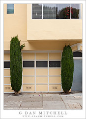Two Bushes, San Francisco Home (G Dan Mitchell) Tags: sanfrancisco california street door two urban usa white home window yellow architecture reflections print paint geometry garage sidewalk northamerica blinds cypress bushes alcove