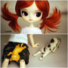 Cat girl (_Lalaith_) Tags: sleeping orange cats white cat eyes diptych doll purple pants dal tshirt stretch camo redhead carrot pigtails dolly rement tee stretching schleich rewigged lizbel