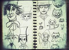 mad hatter sketchbook doodles (heathermariecarr) Tags: illustration pen sketchbook doodles sketches madhatter 2012 aliceinwonderland lewiscarroll heathercarr xe3ep heatherunderground