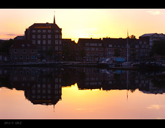Sunset Reflections (Greet N.) Tags: sunset june reflections germany habour emden anawesomeshot