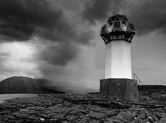 Rhue Lighthouse 3 - Scottish Highlands (Michael~Ashley) Tags: lighthouse white black photography mono scotland nikon rocks scottish loch broom ullapool d3100