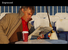 50 Shades of Grey - Engrossed (Rusty Marvin - JohnWoracker.com) Tags: blue sea costa white male coffee metal paper table reading golden newspaper coat cinematic wight carferry jul20 scavchal tp251 scjul rm50shadesofgrey scjul20