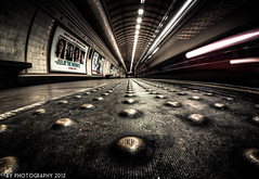 Tube Mice (Aaron Yeoman [Old Account]) Tags: city uk greatbritain travel england urban motion blur london lines station architecture speed train dark underground subway movement europe quiet metro unitedkingdom empty sony low transport perspective platform railway blurred gritty line fisheye advertisement seats transportation advert slowshutter gb tubestation londonunderground subwaystation alpha advertisements vignetting vignette hdr highdynamicrange thetube metrostation adverts tfl lul theunderground undergroundstation rapidtransit truncateddomes a700 metropolitanrailway tactilepaving railtransport sonyalpha700 dslra700 gantshillundergroundstation gantshilltubestation samyang8mmf35mcfisheye