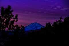 Midnight star trails over Mt. Adams (GeorgeOfTheGorge) Tags: blue mountain oregon washington purple unitedstates midnight mtadams columbiarivergorge startrails mosier snowcappedmountain 7mileroad