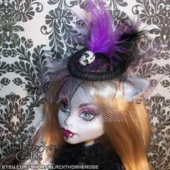 Purple Striped Skull Fascinator (Spooky Ravencroft) Tags: sculpture hat monster doll ooak gothic goth victorian etsy custom mattel crafting artsandcrafts dyi fascinator monsterhigh