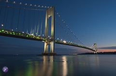 Verrazano Bridge (Blue_gsx) Tags: new york city bridge light brooklyn night island long exposure trail staten verrazano