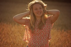 Lucy (Charlotte Catherine) Tags: sunset summer portrait orange sun colour girl beautiful beauty field hair nose gold golden evening lucy model corn cornfield focus warm natural bokeh candid warmth piercing flare talking stroll flares goldenhour sooc straightoutofcamera canoneos550d