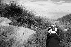 (eeviko) Tags: uk greatbritain trip travel christchurch summer england bw woman white black beach me nature girl grass female self foot grey sand unitedkingdom britain hay sandal bythesea 2062012