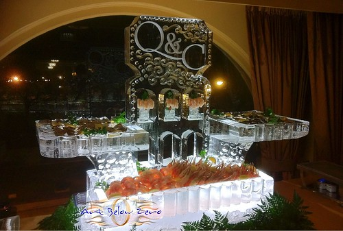 Cape Cod Seafood Display with Monogram Ice Sculpture