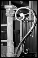 20121101 Handrail at The Workshops Railway Museum (Degilbo on flickr) Tags: ilfordhp5plus400 pentaxz10 bwnegatives scannednegatives inbuiltflash workshopsrailwaymuseum epsonscannerv500 topazsoftware governorscarriage