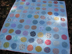 Appliqued Circles Quilt (627HandWorks - Julie Hirt) Tags: circle picnic quilt circles dot cotton blanket quilting applique binding backing appliqued reproductionfabric straightlinequilting