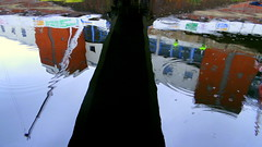 NIA reflected (eucharisto deo) Tags: street old bridge reflection st canal birmingham paradise bcn basin gas wharf network reflectedbridge