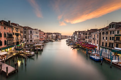 View on Grand Canal from Rialto Bridge, Venice, Italy (ansharphoto) Tags: street city travel bridge blue venice sunset sea vacation sky italy house building history tourism water electric skyline architecture landscape boats lights evening town canal twilight italian europe italia european cityscape view dusk famous culture grand landmark scene quay illuminated historic transportation romantic venetian venezia rialto adriatic gondolas vaporetto veneto