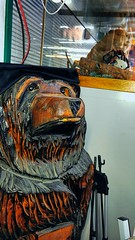 Beaver and bearhead (peter.friess) Tags: bear wood calgary animals statue vegan chainsaw carving beaver taxidermy