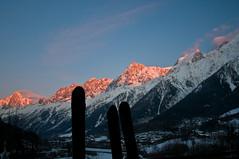 Alpenglow (wesbl) Tags: travel italy ski france alps switzerland europe skiing geneva backcountry chamonix montblanc offpiste backcountryskiing chamonixmontblanc