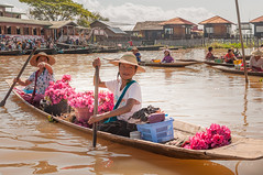 lotus boat (Wa Na Sa IMM) Tags: people lake flower water boat lotus burma inle shanstate lotusboat