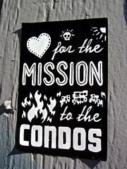 Mission Condos, San Francisco, (Robby Virus) Tags: sanfrancisco california love fire sticker heart district flames mission slap condos gentrification condominiums gentrify