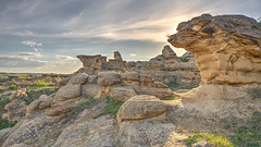 Bass Lines (Wayne Stadler Photography) Tags: park travel camping sunset canada rock rural countryside afternoon country places roadtrip explore alberta sacred aboriginal prairies prehistoric formations writingonstone provincial writings southernalberta