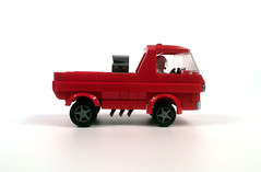 """1965 Dodge A-100 pickup """"Little Red Wagon"""" (timhenderson73) Tags: red race wagon drag lego little pickup dodge custom a100 1965 wheelstander"""