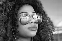 Spiegelglazen (zsnajorrah) Tags: portrait people blackandwhite woman reflection netherlands girl monochrome sunglasses mirror arnhem streetportrait curls piercing curlyhair ef2470mmf4l 7dmarkii