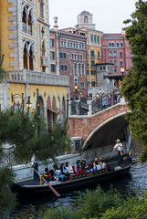 A Passing Gondola (hanz11hanz) Tags: bridge disneysea venice people water beautiful japan architecture guests river tokyo decoration disney tourists canoe transportation gondola elegant crowds themepark