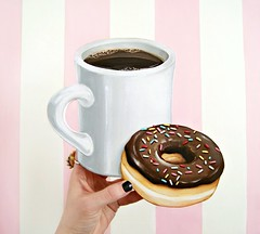 Coffee and Donut (art plaque) (holiday_jenny) Tags: art kitchen coffee handmade chocolate diner retro sprinkles donut mug decor