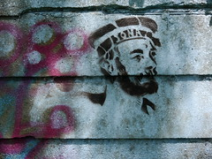 Stencil art (Victor W Adams) Tags: stencil stencilled art artistic arts streetart urbanart public graffiti graffito sailor vandalism paint painted painting social documentary wall urban street streetphotography streetscape panasonic lumix g5 digital spray graphic