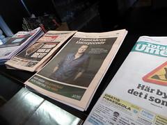 Newspapers while you eat (seikinsou) Tags: summer food breakfast restaurant hotel newspaper midsummer sweden diningroom meal umea scandic