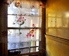 50's glamour (holly hop) Tags: abandoned home kitchen architecture farmhouse rust ruins decay farm empty rusty australia curtains derelict ruraldecay woodenbuilding centralvictoria hww moliagul woodencottage windowwednesday