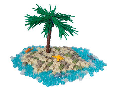 Crab Island (BrickCurve) Tags: sea fish tree water island desert lego crab palm palmtree moc