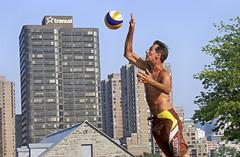 Good Times (Danny VB) Tags: volleyball beach beachvolleyball sport sky skyscrapper montreal quebec canada jump man downtown airtransat