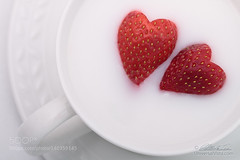 Happy Valentine's day (ElginCon) Tags: red white holiday macro love cup fruit hearts milk strawberry day heart album strawberries valentine romance lovers celebration card valentines romantic shape greeting   500px  celebratelove ifttt