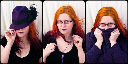 woman hat sweater triptych purple speaknoevil seenoevil hearnoevil fedora jhayne earphones proverb trifecta dyedhair iwazaru mizaru kikazaru