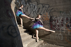 Bethany & Shelby (Jeffrey Wallace) Tags: urban ballet bar stairs point graffiti dance cement dancer railing edgy