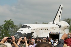 Space Shuttle Discovery Appears (scattered1) Tags: museum smithsonian dc washington space air ceremony national va shuttle transfer discovery nationalairandspacemuseum 2012 chantilly orbiter spaceshuttlediscovery ov103 welcomediscovery transferceremony