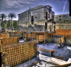 """Bates Motel"" Construction Project Update Panorama (Walker Dukes) Tags: sanfrancisco california wood blue trees red sky urban sun white black men green art yellow shirt photoshop concrete site workers cityscape boots steel gray cement sunny toilet palm jeans wires covered highdefinition sfbayarea ladder constructionsite rods planks hardhats portopotty portabletoilet photomatix toolbelts tonemapping highdefinitionresolution"