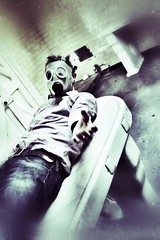 Mortuary (StartTheDay) Tags: light england abstract man color colour male green art me hospital mask sony alien creepy photograph horror abandonded gasmask safe amateur processed hombre homme 2012 mec urbex mortuary alpha500 sonydslr500 snapseed