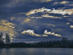Blue sky blues (Wim Koopman) Tags: blue trees sky lake holland reflection water netherlands dutch clouds canon photography photo pond mood stock nederland blues atmosphere powershot shrub stockphoto s90 stockphotography s100 wpk s95
