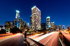 The Beautiful Downtown Los Angeles (Fox Lei) Tags: california city sunset usa building landscape evening town losangeles nikon long exposure downtown cityscape sigma wideangle nightscene dx f35 worldcitycenters d7000 nikond7000 sigma1020f35 1020f35