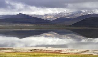 Himalayan Reflection on the lake Tso Drolung, Tibet