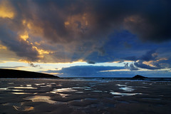 Ghost Riders in the Sky (clearbluelight) Tags: ocean sunset beach clouds cornwall tokina1224 lowtide sunrays crantock